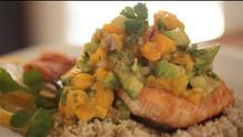 Broiled Salmon With Papaya & Avocado Salsa