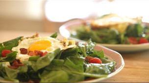 Warm Spinach Salad, Bacon and Fried Egg