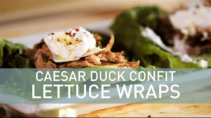 Caesar Duck Confit Lettuce Wraps with Anchovy Cream Sauce