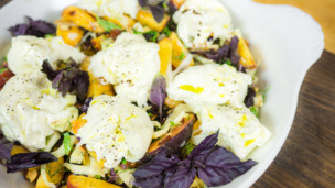 Thumbnail image for Marinated Peaches with Burrata Cheese