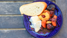 Dried Fruit Compote with Fresh Goat Cheese