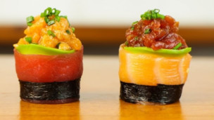 Thumbnail image for Spicy Tuna Salmon Sushi Roll