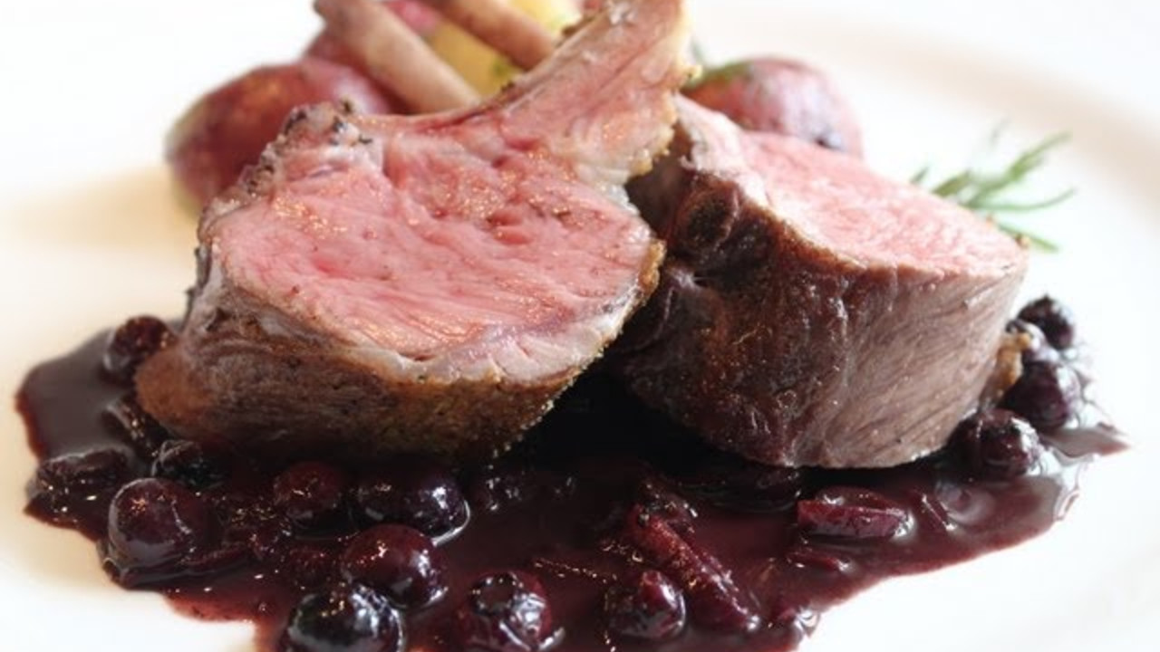 Rack of Lamb with Blueberry Beurre Rouge - Cooking Videos | Grokker for Lamb Chops Rack  193tgx