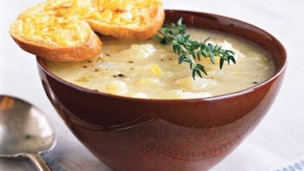 Golden Potato-Leek Soup with Cheddar Toast
