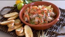 Spicy Shrimp Scampi with Crostini