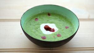Pea and Courgette Soup with Harissa