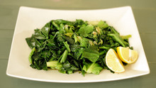 Spring Greens with Garlic, Lemon and Anchovy