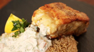 Cod with Tahini & Rice